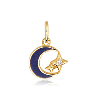 Lapis Lazuli Moon & Topaz Star Dangle Charm