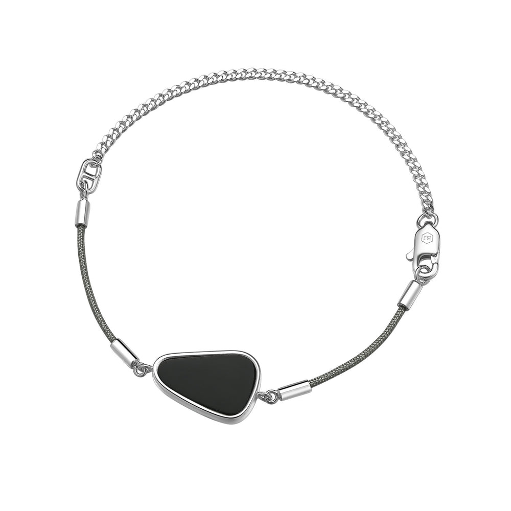 Load image into Gallery viewer, Black Onyx Cobblestone String-Chain Bracelet