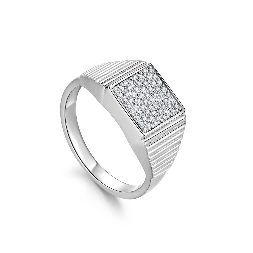 Diamond Geometría Square Signet 18K White Gold Ring