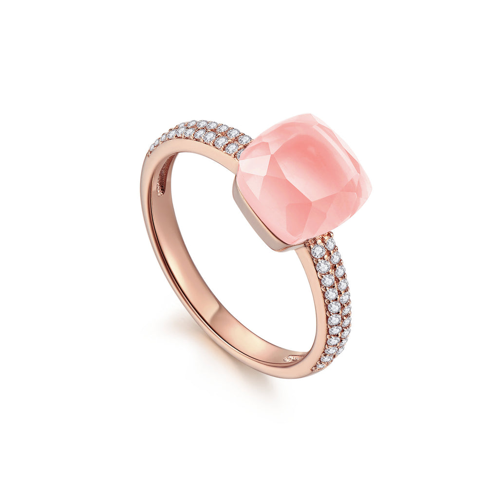 Diamond Rose Quartz Square-Cut Sugar Cube 18K Rose Gold Ring