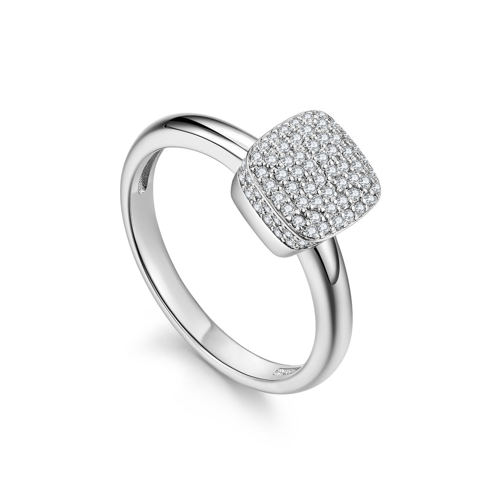 Diamond Sugar Cube 18K White Gold Ring