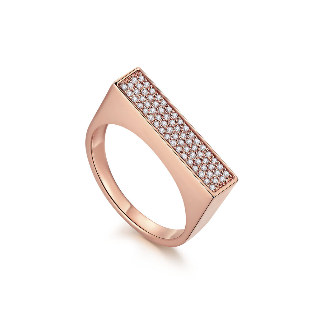 Diamond Geometría Rectangle Signet 18K Rose Gold Ring