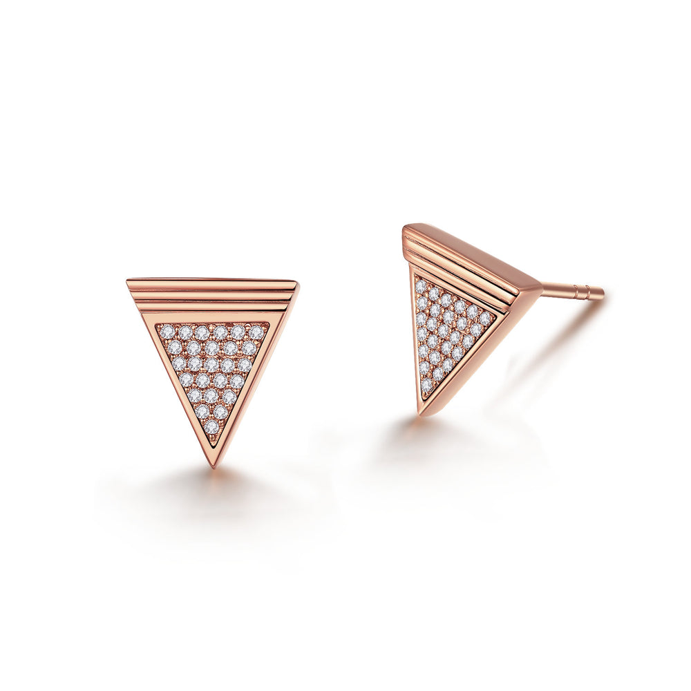 Diamond Geometría Triangle 18K Rose Gold Stud Earrings