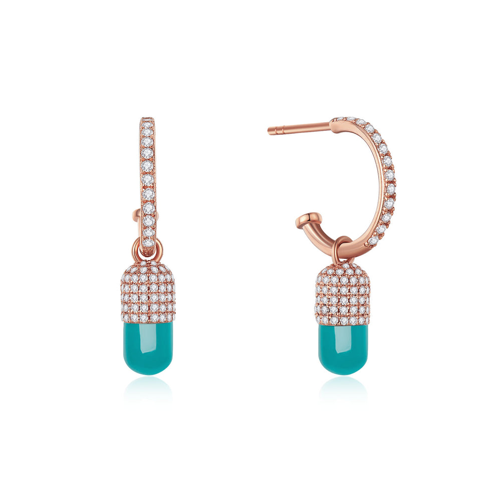 Diamond Turquoise Magic Capsule 18K Rose Gold Hoop Earrings