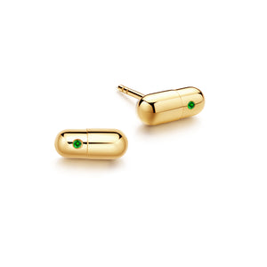 Emerald Magic Capsule Gold Stud Earrings