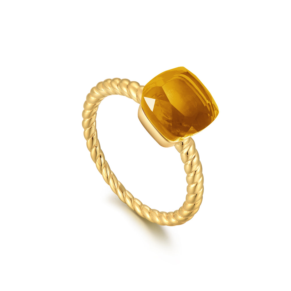 Citrine Square-Cut Sugar Cube Gold Ring