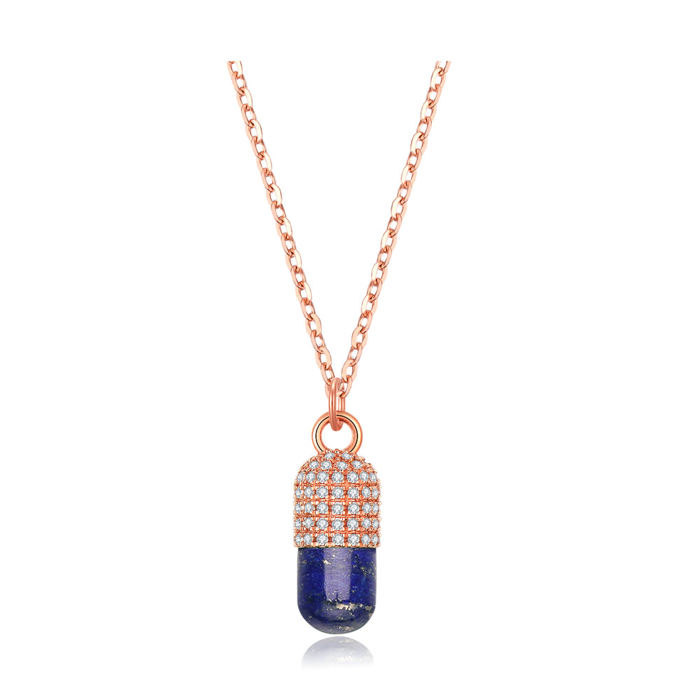 Diamond Lapis Lazuli Magic Capsule 18K Rose Gold Necklace