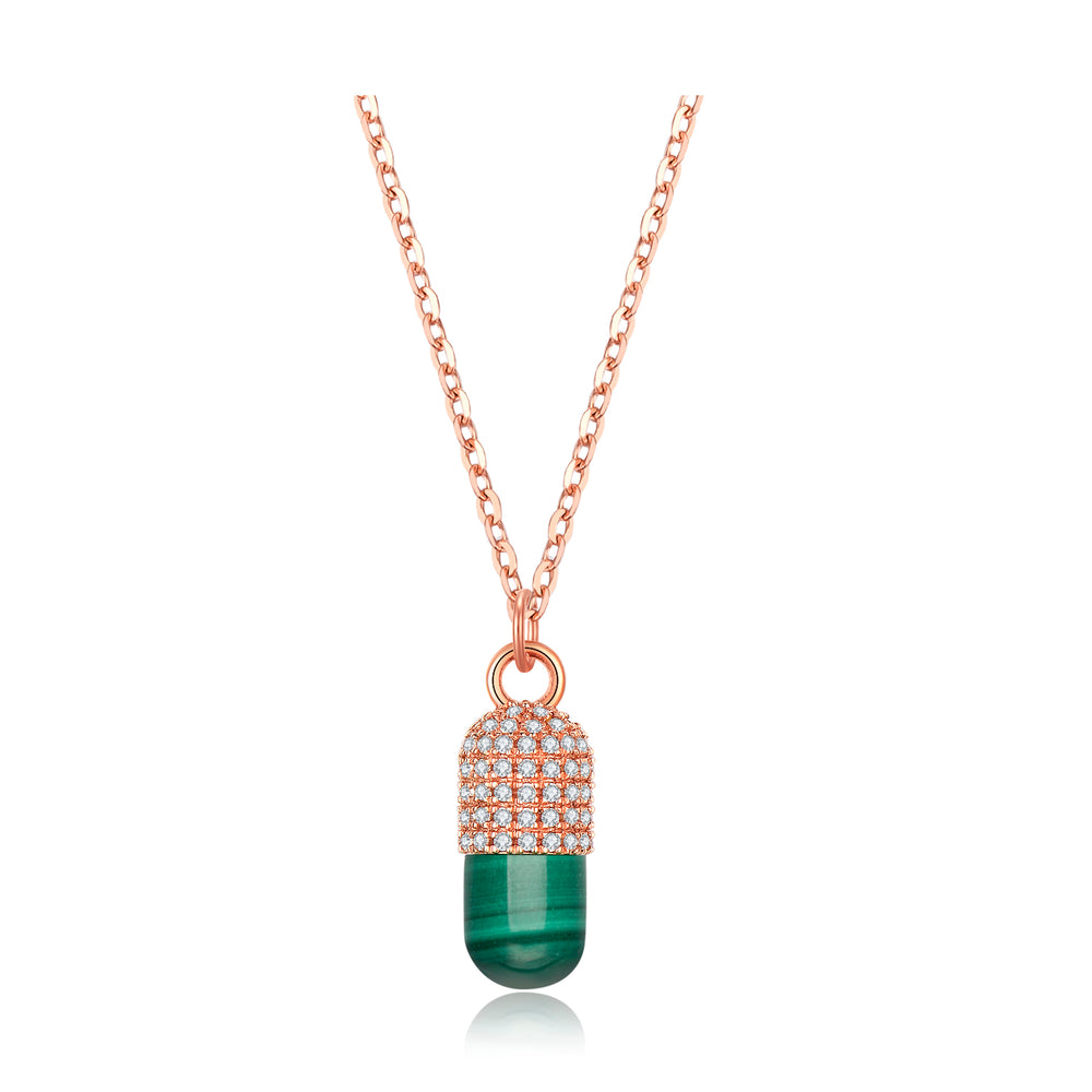 Diamond Malachite Magic Capsule 18K Rose Gold Necklace
