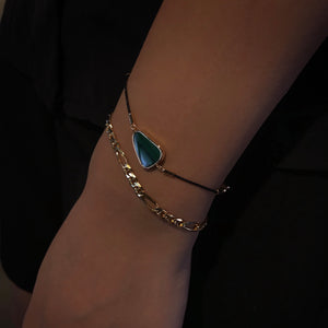 Gold Capsule-Shaped Chain Bracelet