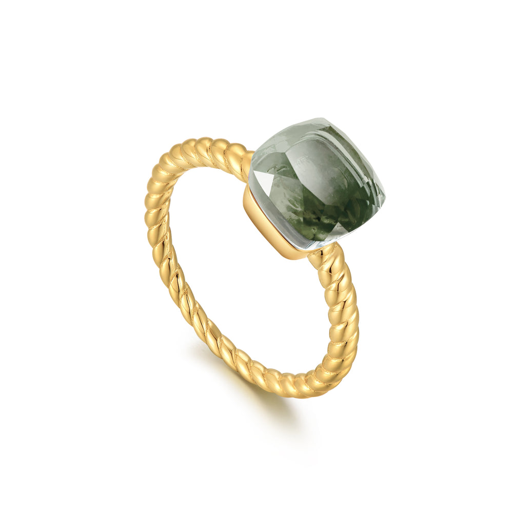 Prasiolite Square-Cut Sugar Cube Gold Ring