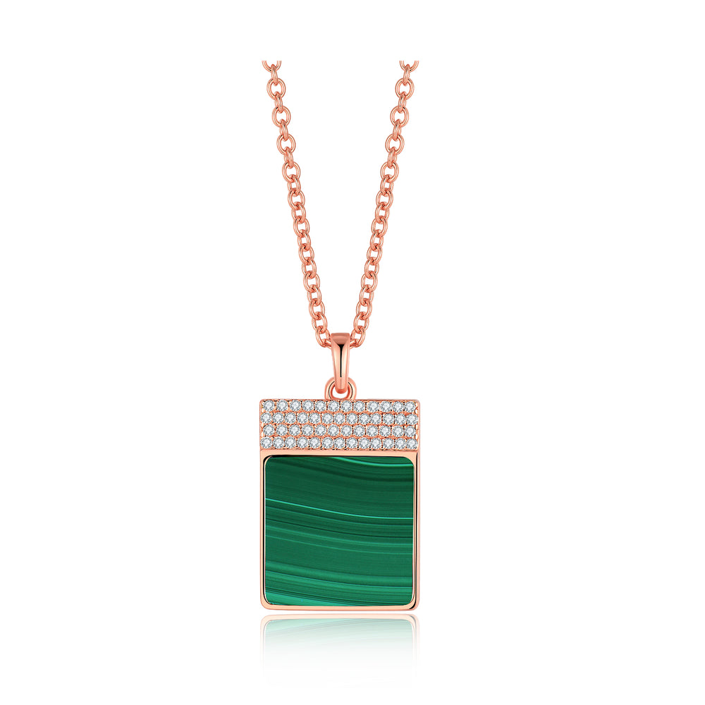 Load image into Gallery viewer, Diamond Malachite Geometría Square 18K Rose Gold Necklace