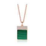 Diamond Malachite Geometría Square 18K Rose Gold Necklace