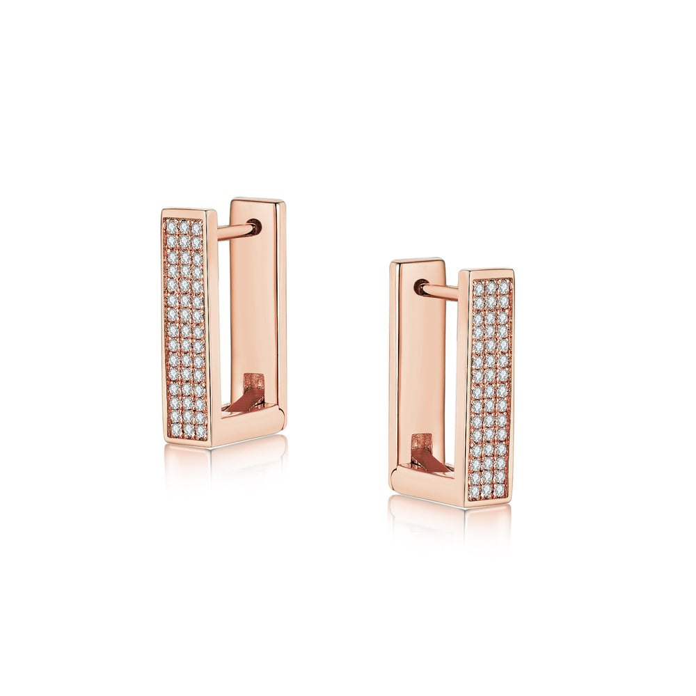 Diamond Geometría Rectangle 18K Rose Gold Huggies