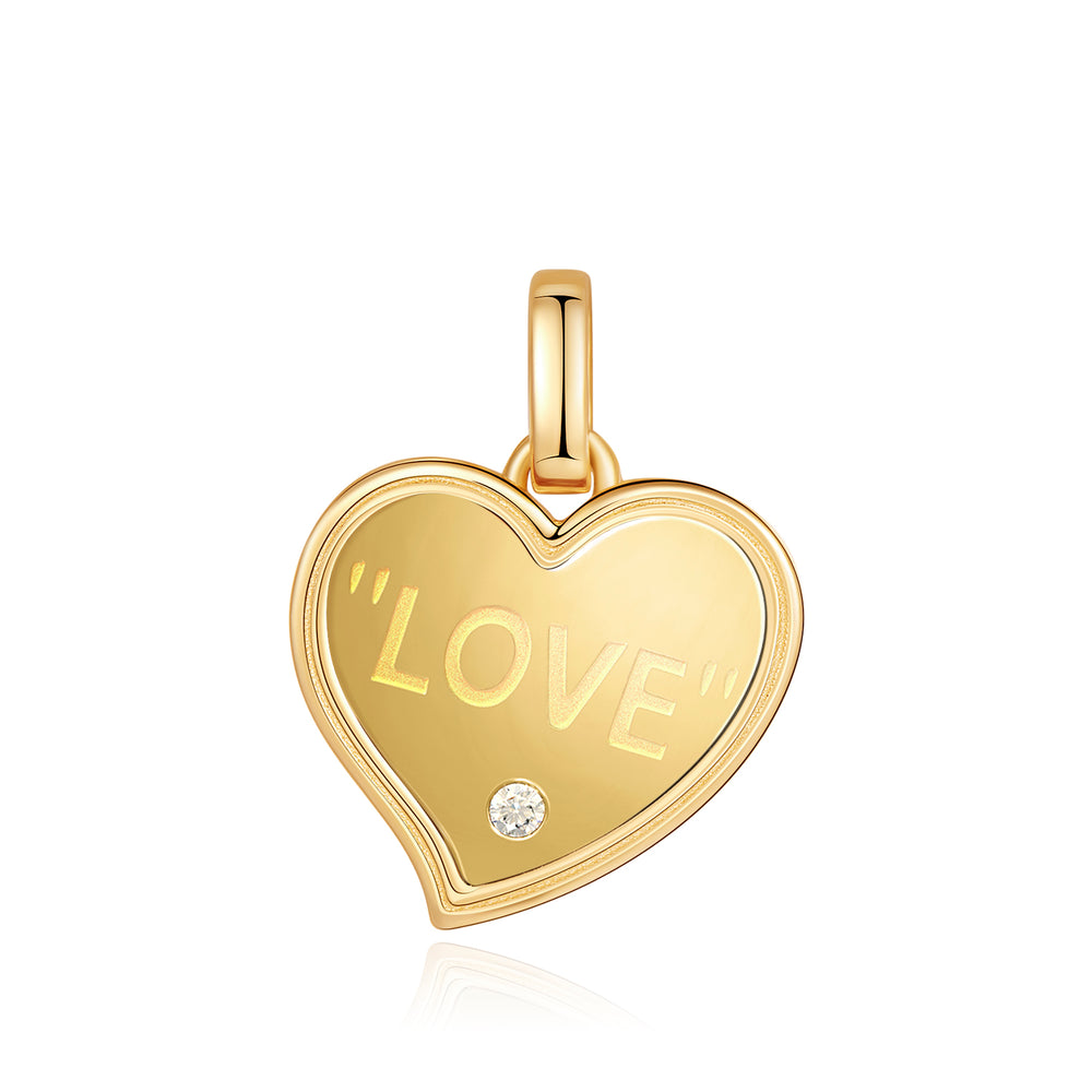 SAPPHIRE HEART TAG GOLD PENDANT CHARM
