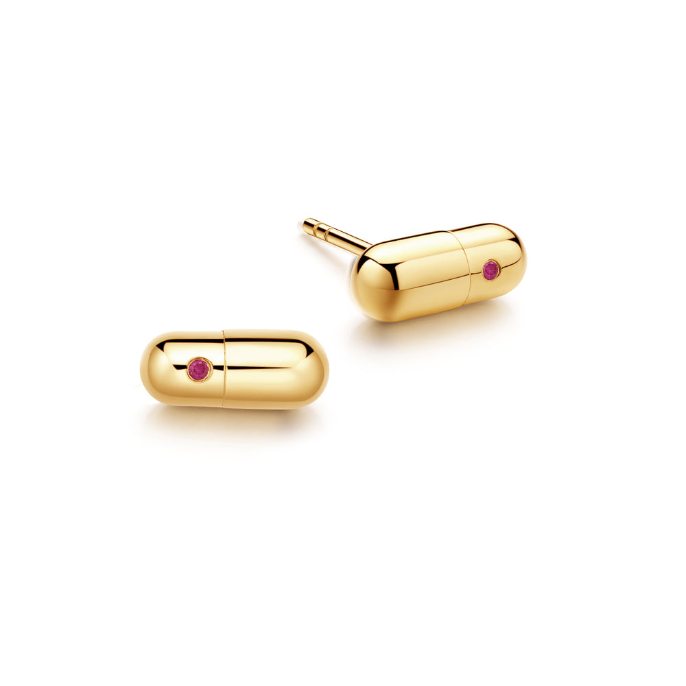 Ruby Magic Capsule Gold Stud Earrings