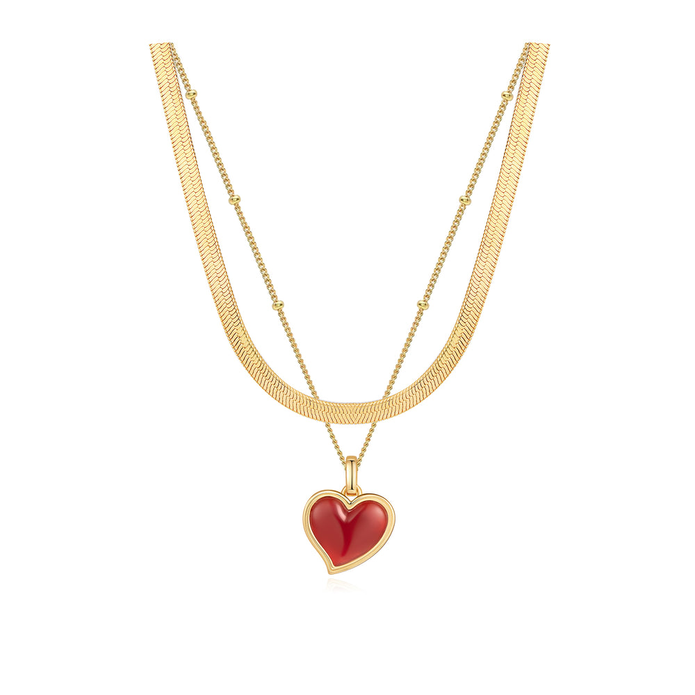 RED ONYX HEART TAG GOLD NECKLACE SET