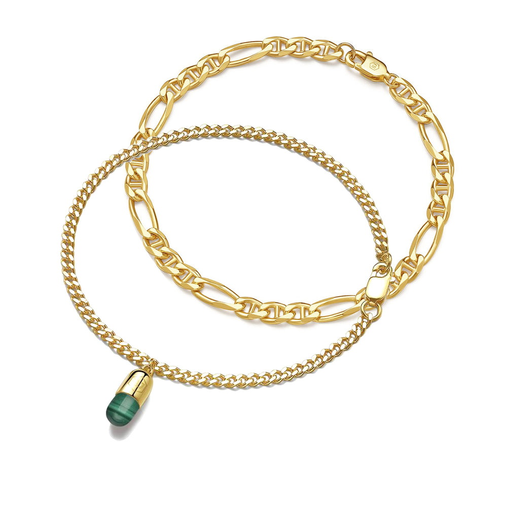 Load image into Gallery viewer, Malachite Magic Capsule Gold Bracelet Set