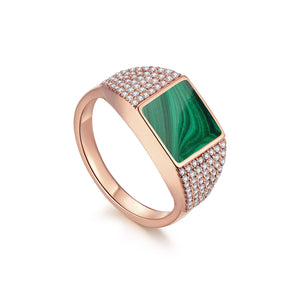 Load image into Gallery viewer, Diamond Malachite Geometría Square Signet 18K Rose Gold Ring