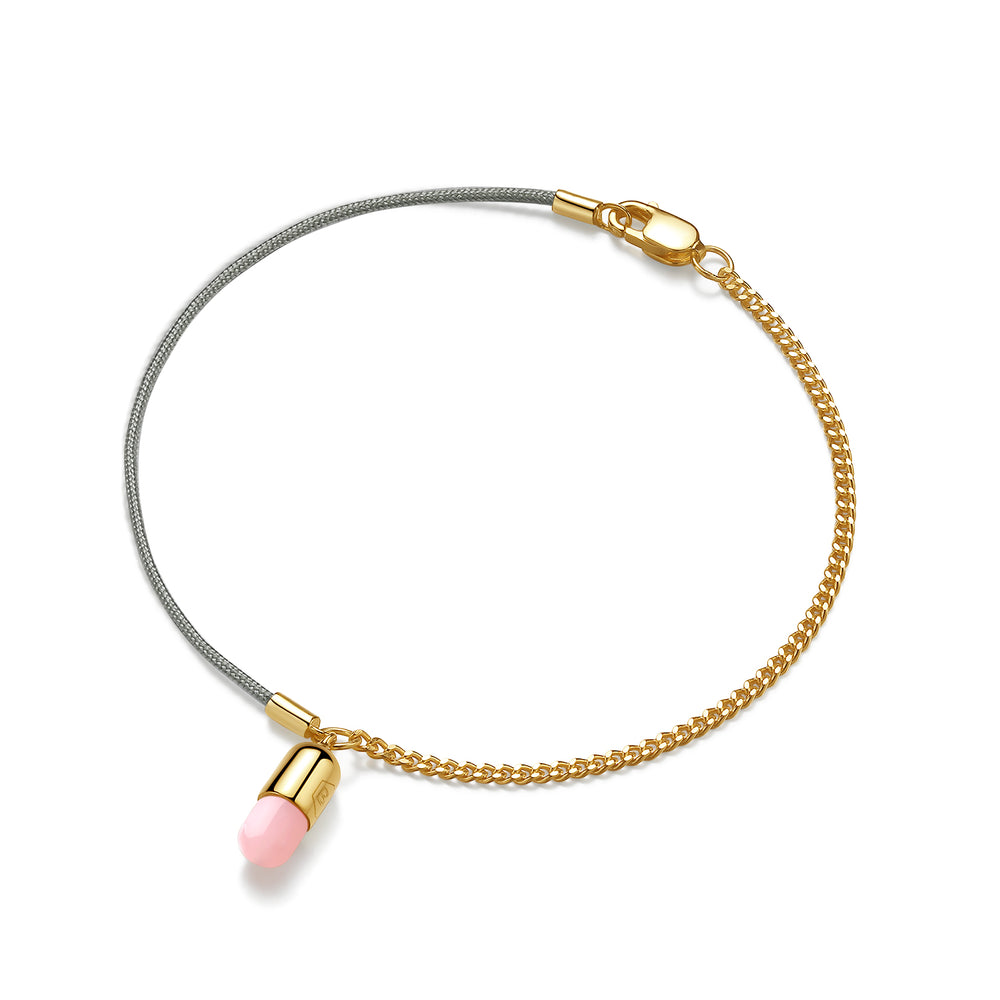 Pink Opal Magic Capsule String-Chain Gold Bracelet
