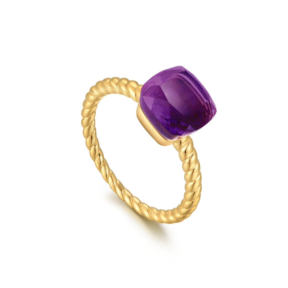 Load image into Gallery viewer, Amethyst Square-Cut Sugar Cube Gold Ring