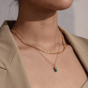Load image into Gallery viewer, Diamond Malachite Magic Capsule 18K Rose Gold Necklace