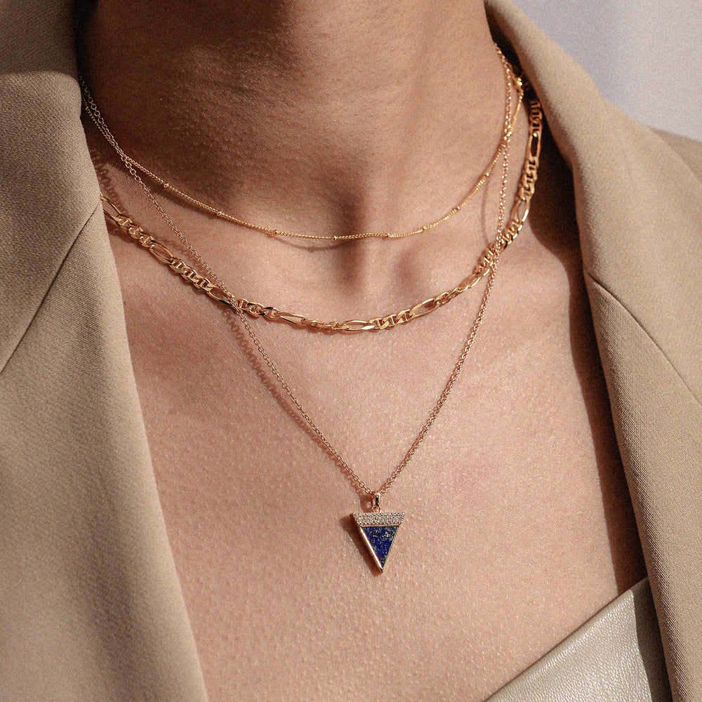 Diamond Lapis Lazuli Geometría Triangle 18K Rose Gold Necklace