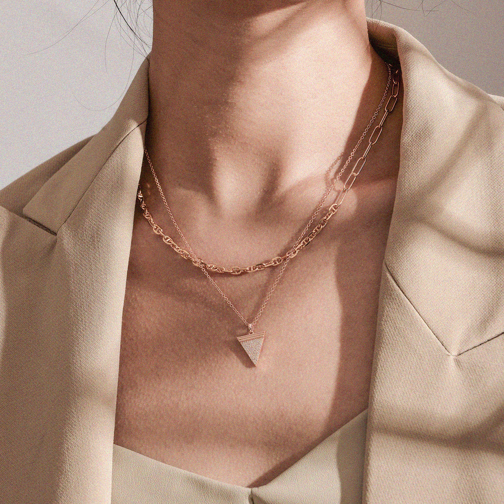 Diamond Geometría Triangle 18K Rose Gold Necklace