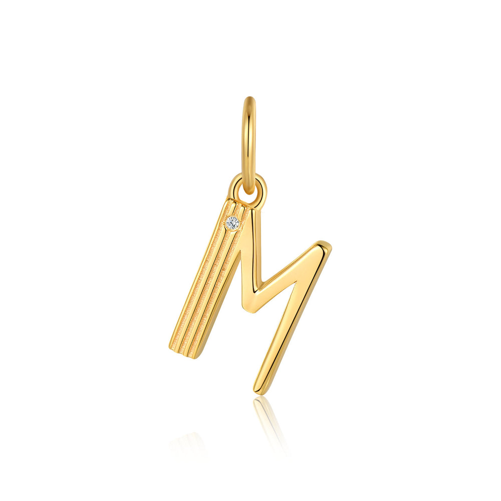 Diamond Alphabet Letter Dangle Gold Charm