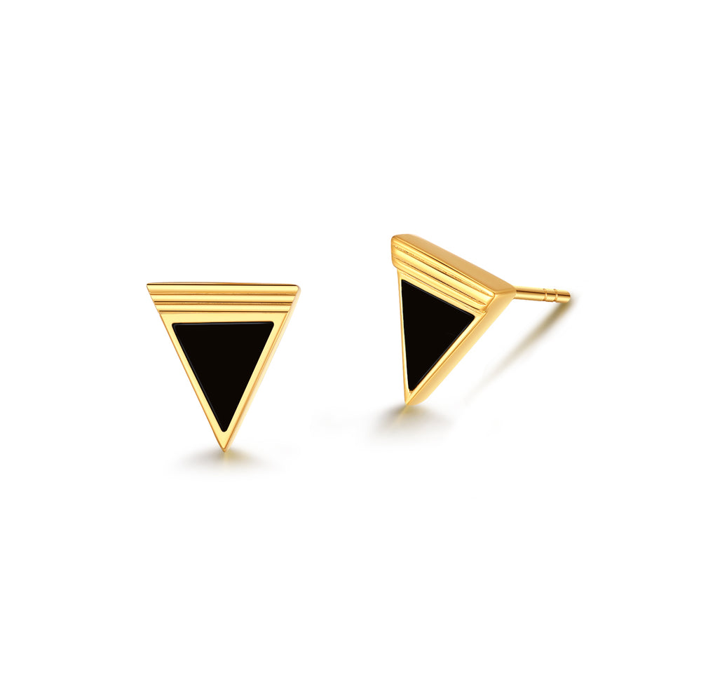 Black Onyx Geometría Triangle Gold Stud Earrings