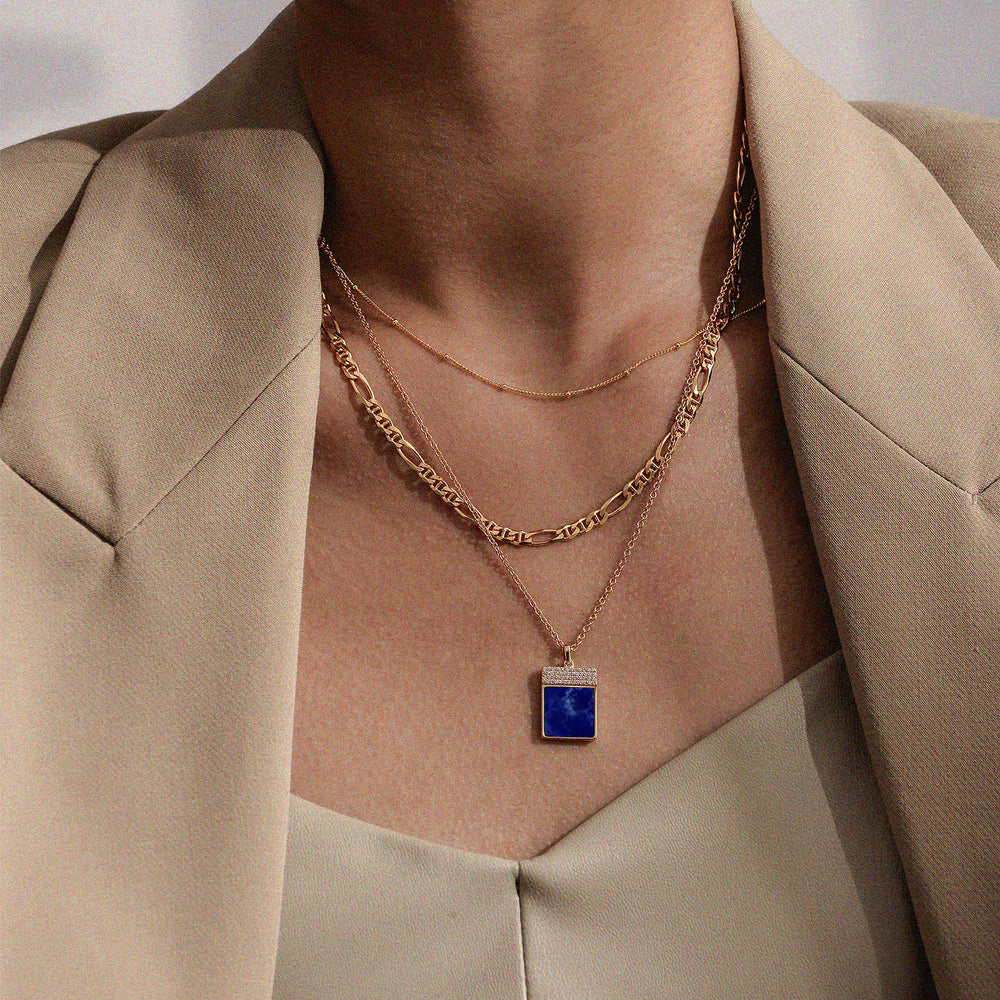 Diamond Lapis Lazuli Geometría Square 18K Rose Gold Necklace