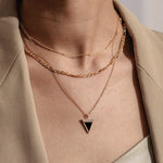 Diamond Black Onyx Geometría Triangle 18K Rose Gold Necklace