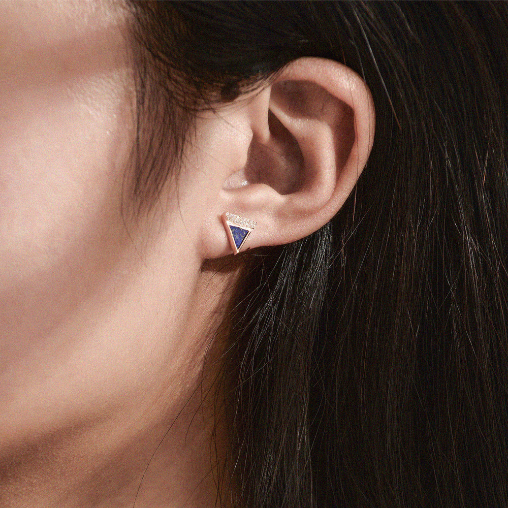 Diamond Lapis Lazuli Geometría Triangle 18K Rose Gold Stud Earrings