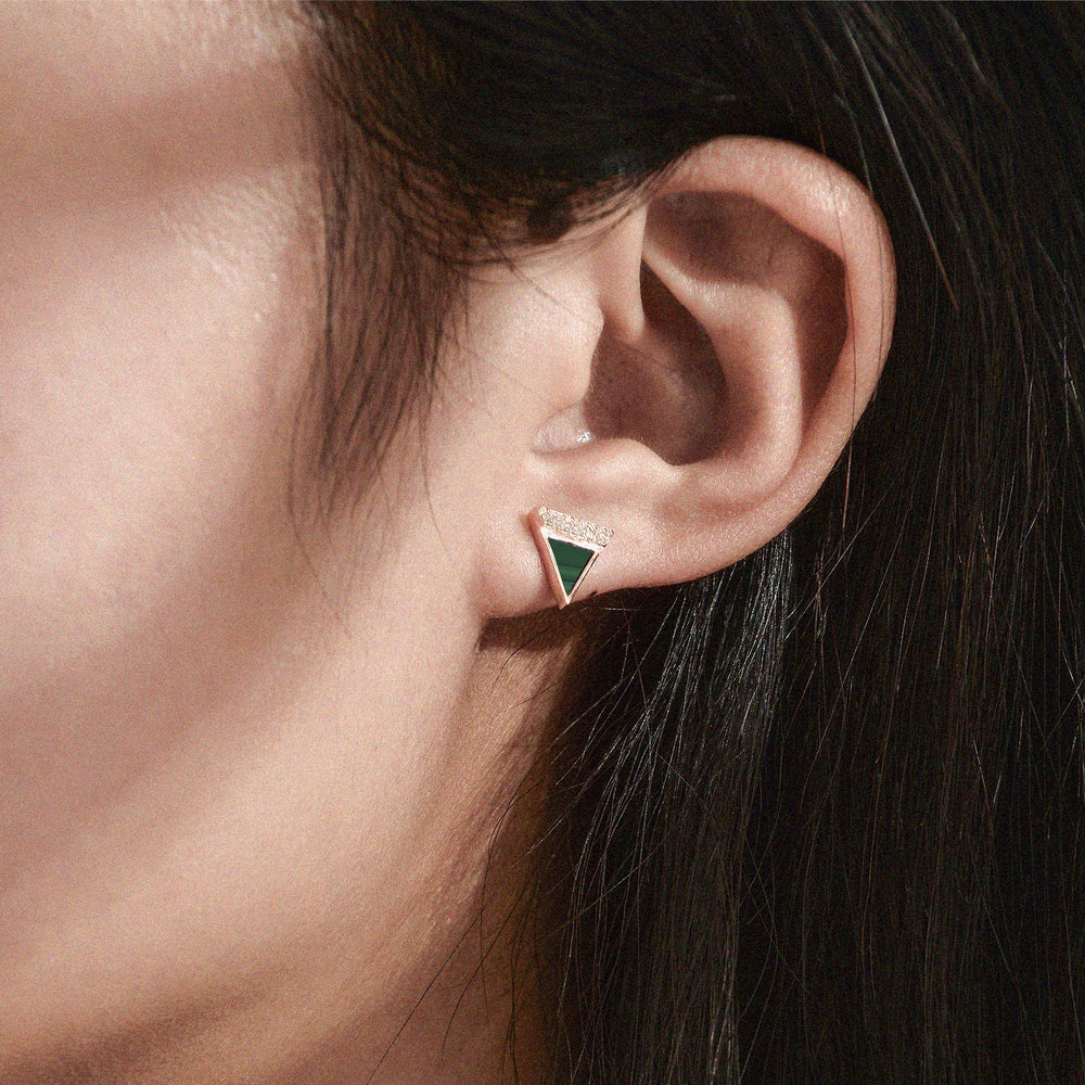 Diamond Malachite Geometría Triangle 18K Rose Gold Stud Earrings