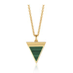 Malachite Geometría Triangle Gold Necklace