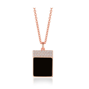 Diamond Black Onyx Geometría Square 18K Rose Gold Necklace