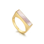 Mother of Pearl Geometría Rectangle Signet Gold Ring