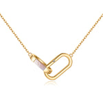 SAPPHIRE & MOTHER OF PEARL INTERLOCKING LINKS GOLD NECKLACE