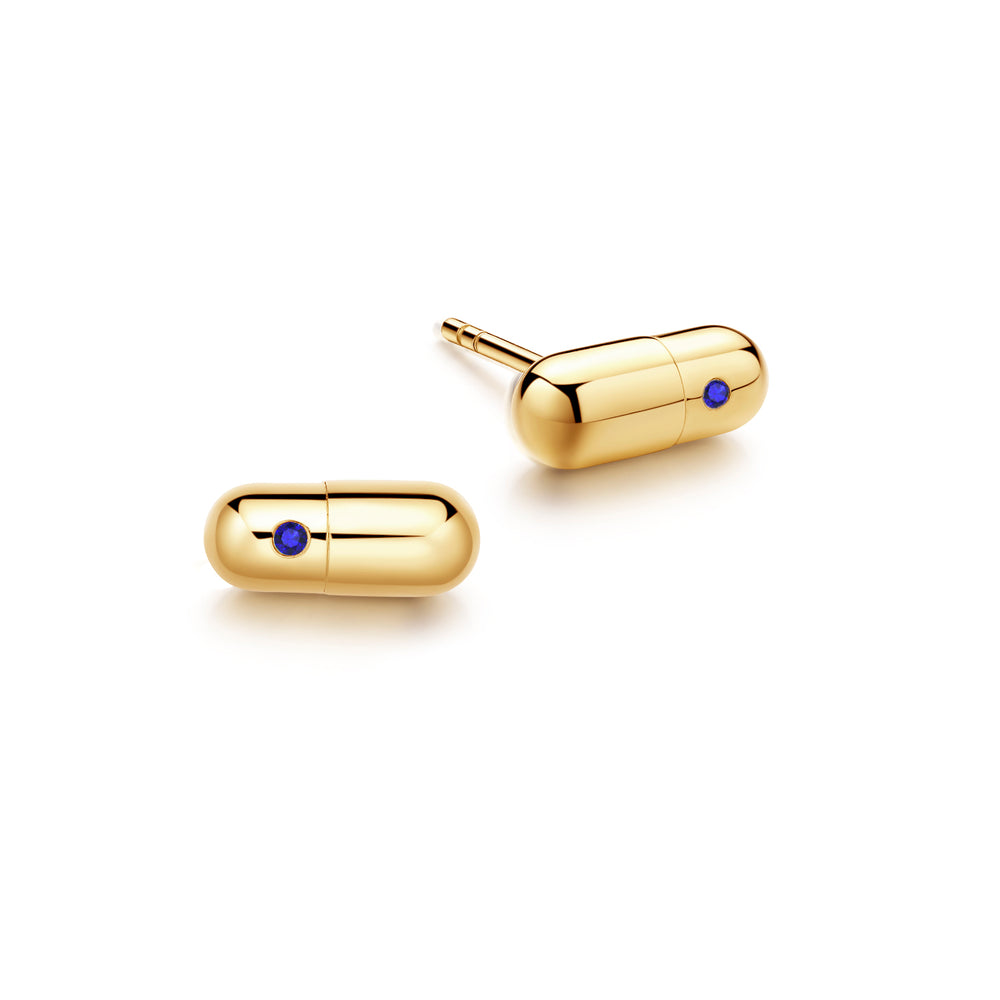 Sapphire Magic Capsule Gold Stud Earrings