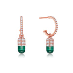 Diamond Malachite Magic Capsule 18K Rose Gold Hoop Earrings