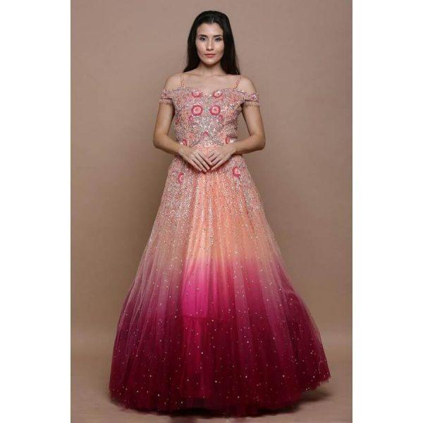 Peach & Pink Shaded Sequins Embroidered Net Bridal Gown