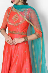 dazzling coral orange anarkali Dress