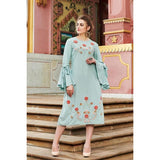 Sky Blue Zari Embroidered Cotton Designer kurti