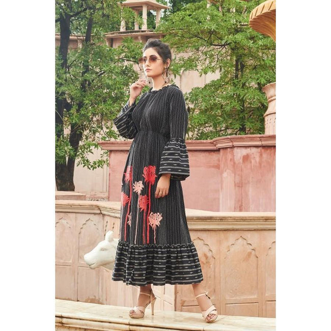 Black Printed Cotton Designer kurti
