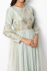 Sage Green Embroidered Anarkali Dress