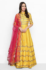 Yellow Embroidered Anarkali Dress