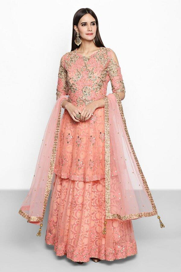 Peach Embroidered Anarkali Dress