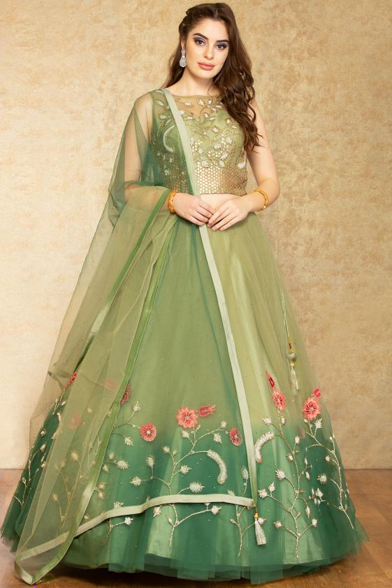 Floor Length Net lehenga
