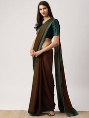 Brown Solid Poly Georgette Saree
