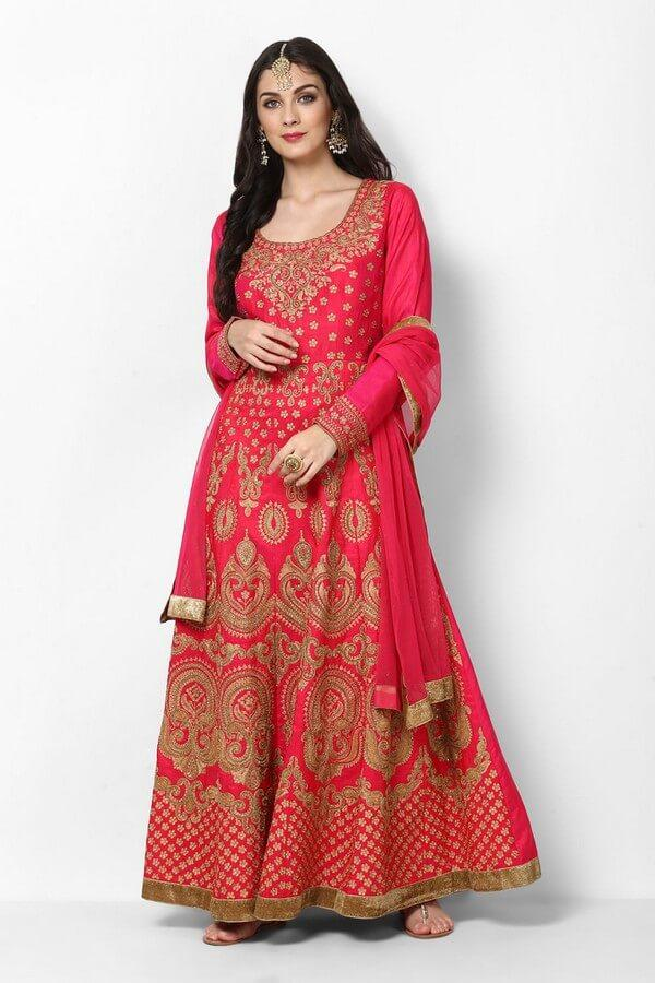 Rani Pink Embroidered Anarkali Dress