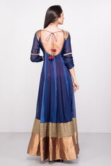 Blue Panelled Anarkali Dress